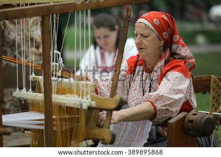 Vologda, RUSSIA  July 4: Portraits of people at the street festival of folk art in Russiaon July 4, 2015, in Vologda, Russia