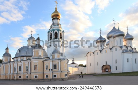 VOLOGDA, RUSSIA - JUNE 12, 2011: Holy Wisdom cathedral (right) and the Resurrection Cathedral on the Kremlin square. Built in 1568-1570, the Holy Wisdom cathedral is the oldest stone building in city