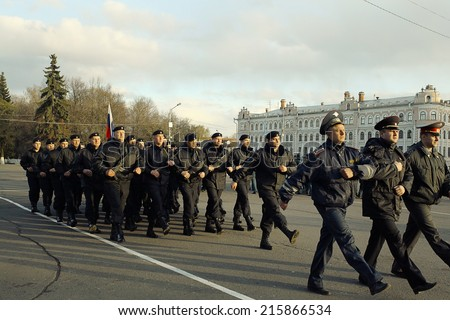 Vologda, RUSSIA �¢?? MAY 8: Dress rehearsal of Military Parade in Vologda on MAY 8, 2014, in Vologda, Russia