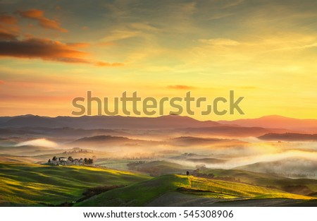 stock photo volterra foggy panorama rolling hills and green fields on sunset tuscany italy europe 545308906 - Каталог — Фотообои «Закаты, рассветы»