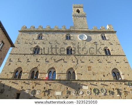 Volterra, Italian medieval town - view of the city centre - Palazzo dei Priori - stock photo
