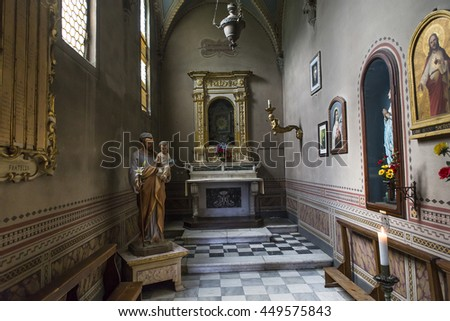 VOLTERRA, ITALY, JUNE 13, 2016 : interiors and architectural details of the duomo, Volterra cathedral, june 13, 2016 in Volterra, Italy
