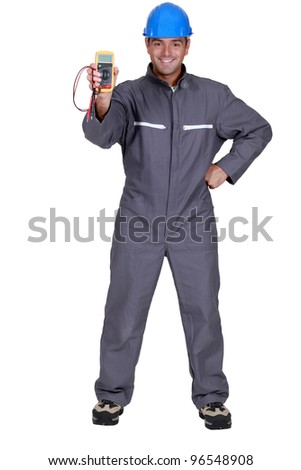 Voltmeter showing Electrician - stock photo