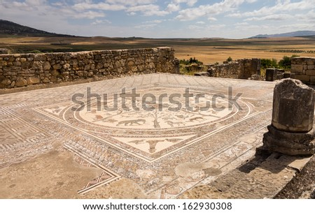 Volubilis is a partly excavated Roman city in Morocco situated near Meknes between Fes and Rabat. Built in a fertile agricultural area, it was developed from the 3rd century BC onwards  - stock photo