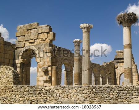Volubilis Roman old city, Morocco, and it is declared a UNESCO World Heritage site. Sunny summer day - stock photo
