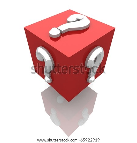 volume glossy red cube with white matters on its sides. 3d computer modeling - stock photo