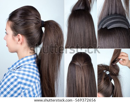 Simple Hair Style Volume Hairstyle Ponytail Bouffant Tutorial Hairstyle Stock Photo .