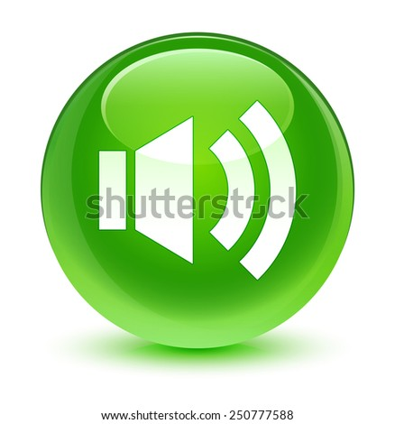 Volume icon glassy green button - stock photo