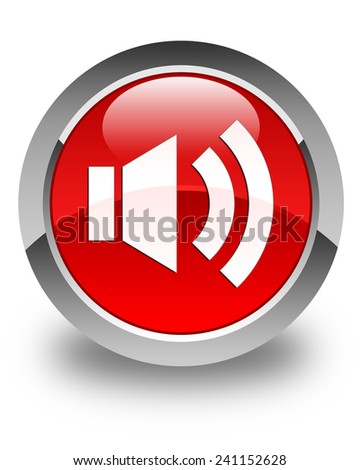 Volume icon glossy red round button - stock photo