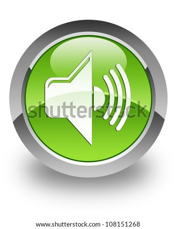 Volume icon on glossy green round button - stock photo