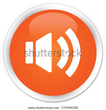Volume icon orange button - stock photo