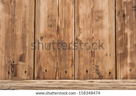 Volume wooden shelf - stock photo