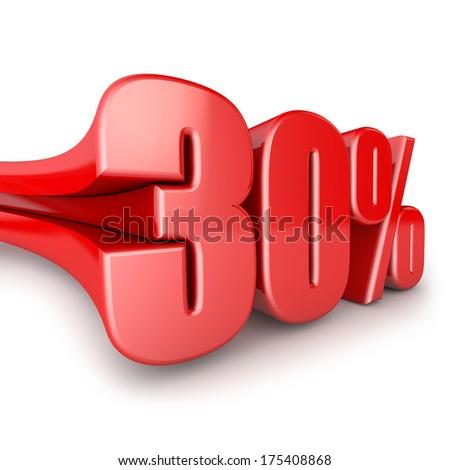 volumetric figure of thirty percent on white background - stock photo