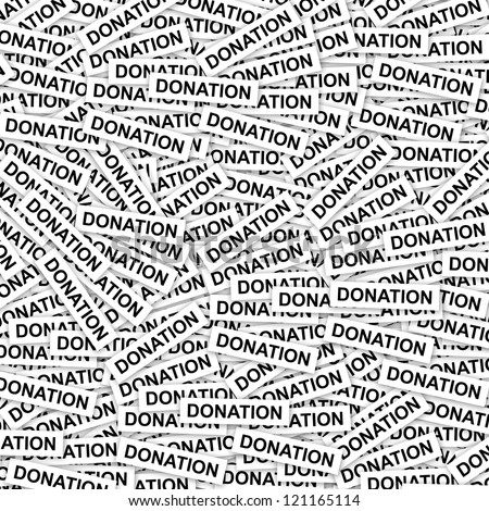 Volunteer and Donation Concept Present By Group of Donation Label Background - stock photo