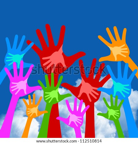 Volunteer and Voting Concept Present By Colorful Adult Raised Hands With Children Hand Inside Isolate on White Background - stock photo