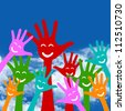 Volunteer and Voting Concept Present By Colorful Raised Hands With Smile in Blue Sky Background - stock photo