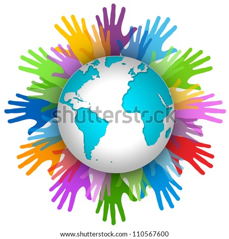Volunteer Concept, Many Colorful Hand Around The World Isolated on White Background - stock photo