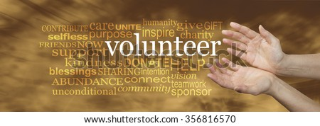 Volunteer Request Word Cloud -  wide banner with a woman's hands in an open needy position with the word VOLUNTEER surrounded by a relevant word cloud on a soft golden flowing background  - stock photo