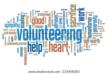 Volunteering issues and concepts word cloud illustration. Word collage concept.