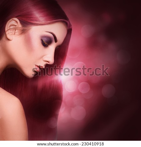 Voluptuous portrait of sexy young adult woman with red perfect red hair in studio - stock photo