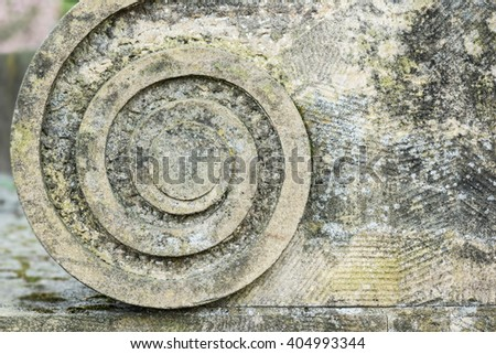 Volute, a spiral, scroll-like ornament. The element can often be seen in Renaissance and Baroque architecture and is a common decoration in furniture design etc. Usable as background or texture.