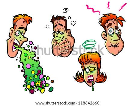 vomiting people - stock photo