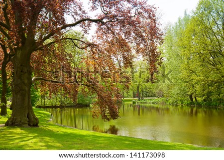 Vondel park - famouse location of  Amsterdam, Holland - stock photo