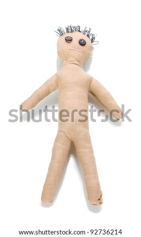Voodoo doll boy isolated on white - stock photo