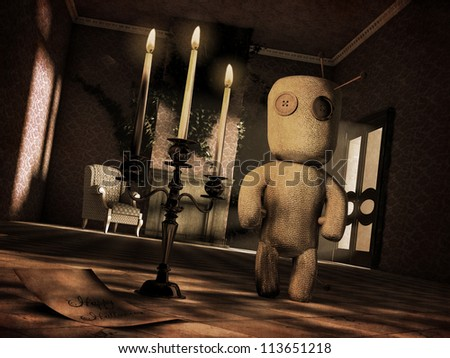 Voodoo doll in a scary mansion - Vintage look -