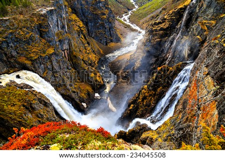 Voringfossen, Norway, the largest waterfall in the country - stock photo