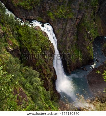 Voringsfossen waterfall in Norway.  - stock photo