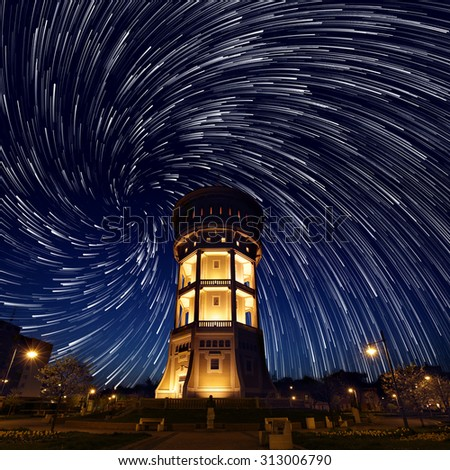 Vortex City Star Trail - stock photo
