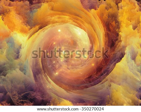 Vortex Dreams series. Abstract design made of Fractal three dimensional spiral texture on the subject of science, mathematics and forces of nature - stock photo