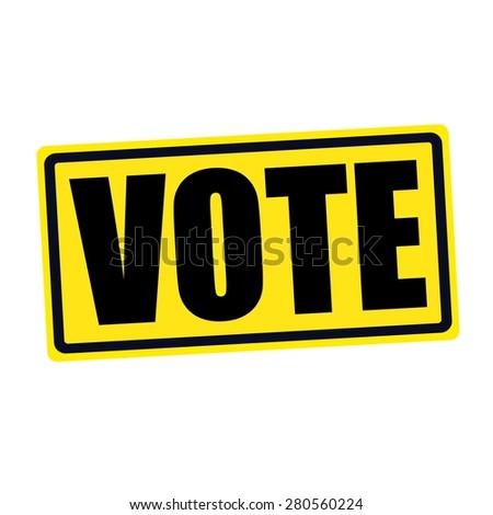 Vote black stamp text on yellow - stock photo
