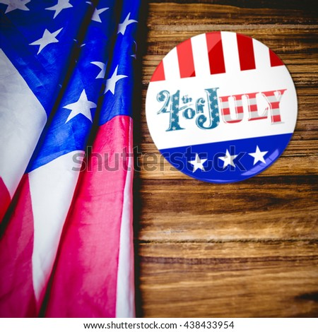 Vote button against usa flag on table