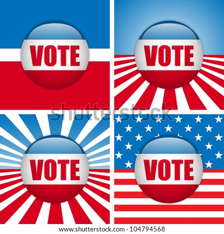 Vote Buttons. Set of four with Background - stock photo