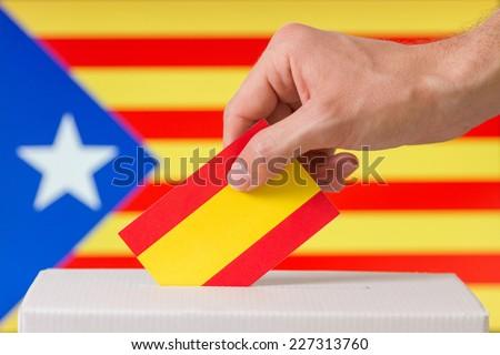 Vote catalonia independence, Catalonia independence flag background - stock photo