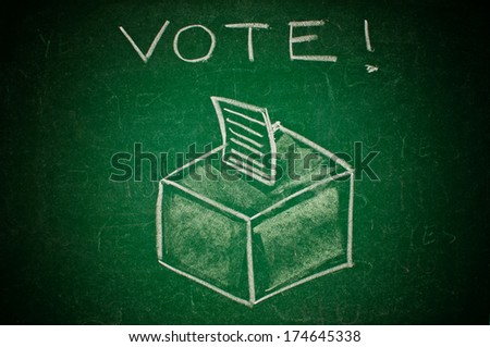 Vote concept; handdrawn ballot box on a green chalkboard - stock photo