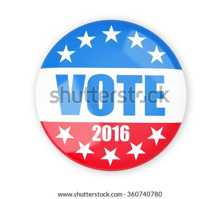 vote election badge button for 2016 - stock photo