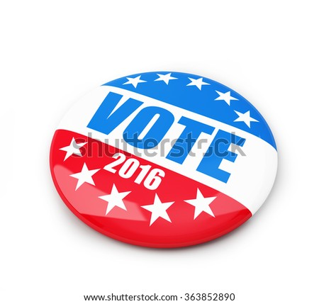 vote election badge button for 2016. 3d Illustrations on a white background