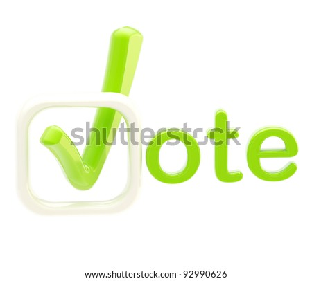 Vote emblem green and white symbol made of tick isolated on white