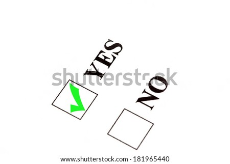 Vote for yes, check sign in yes box. - stock photo
