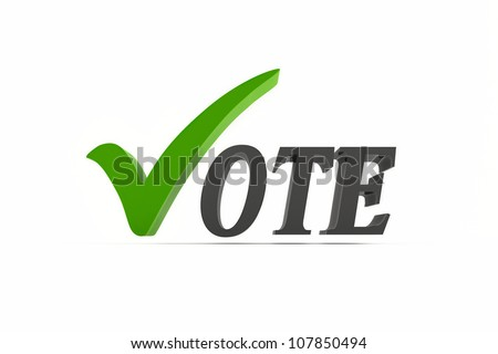 Vote icon with a green check mark sign