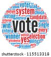 Vote in elections concept in word tag cloud on white background - stock photo