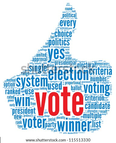 Vote in presidential election concept in word tag cloud on white background - stock photo