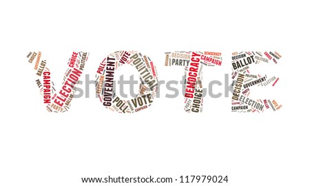 Vote in word collage - stock photo