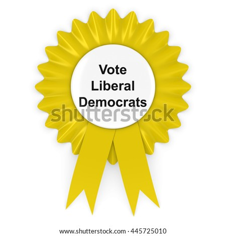 Vote Liberal Democrats UK Elections Rosette Badge 3D Illustration - stock photo