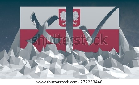 vote mark textured by poland national flag on low poly surface - stock photo