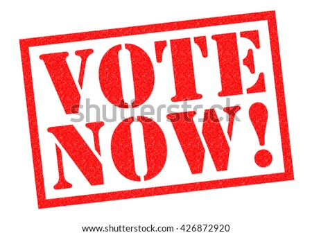 VOTE NOW! red Rubber Stamp over a white background.