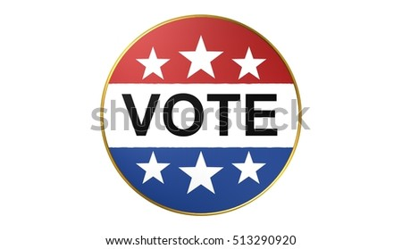 Vote on election day red, white and blue with stars circular poster or pin-back button